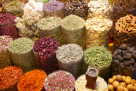 Colorful spices on the traditional arabian souk (market) in Dubai photo