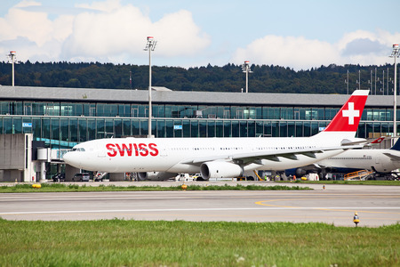 ZURICH - MAY 24:Swiss airlines Airbus A340 taxing on May 24, 2010 in Zurich, Switzerland. Zurich International Airport is one of the major Europian Hub and home port of Swiss airline. Editorial