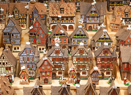 Traditional alsatian houses on the Christmas market photo