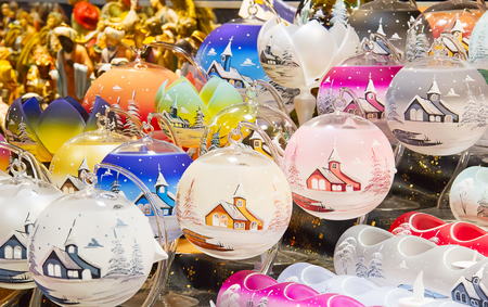 Colorful candlelights on the Christmas market in Strasbourg photo