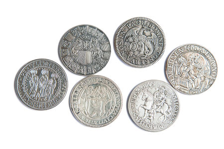 thaler: Collection of the medieval swiss coins on the white background Stock Photo