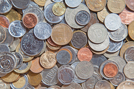 circulated: Collection of the old circulated american coins Stock Photo