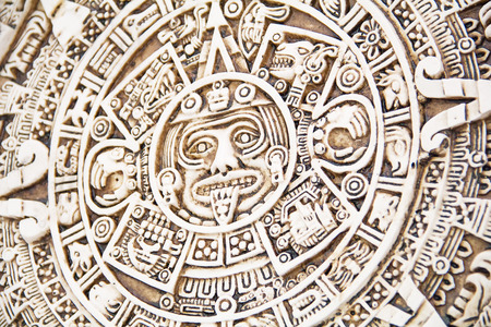 mesoamerica: Fragment of the Mayan symbolic sun carved on the stone