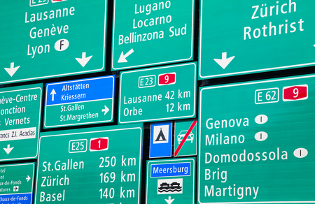 swiss alps: Collection of the swiss road signs Stock Photo