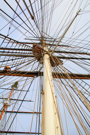masts: Masts of the old sailing ship Stock Photo