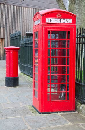 red telephone: Famous red telephone booth in London, UK