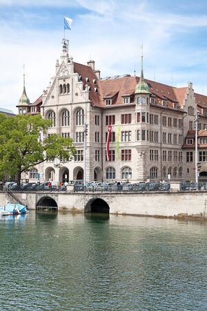 gabled house: View of the Zurich donwtown (Switzerland) Stock Photo