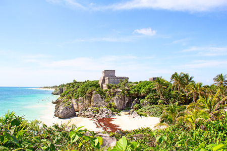 mexico culture: Ruins of the Mayan fortress and temple near Tulum, Mexico Stock Photo