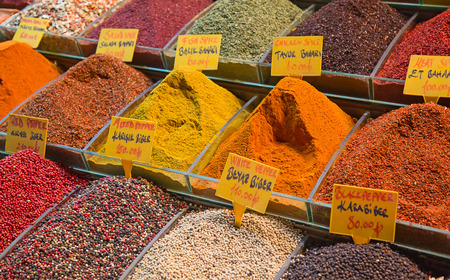 souk: Colorful spices on the traditional arabian souk (market) in Dubai