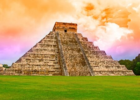 stone steps: Ruins of the Chichen Itza in Mexico