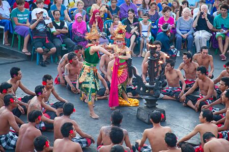 chant: DENPASAR  JULY 27: Traditional Balinese Kecak dance shown in Denpasar Bali Indonesia on July 27 2010. Kecak also known as Ramayana Monkey Chant is very popular cultural show on Bali Editorial