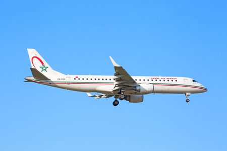 haul: ZURICH - JULY 18: Embraer 190, Royal Air Maroc landing in Zurich airport after short haul flight on July 18, 2015 in Zurich, Switzerland. Zurich airport is home port for Swiss Air and one of the biggest european hubs.