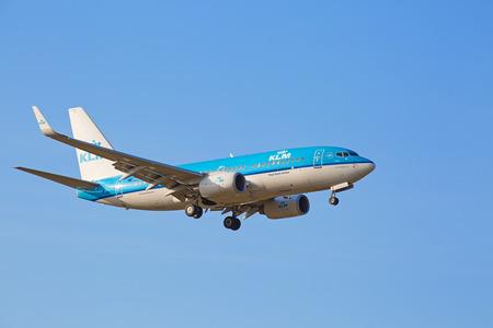hubs: ZURICH - JULY 18: KLM Boeing-737 landing in Zurich airport after short haul flight on July 18, 2015 in Zurich, Switzerland. Zurich airport is home port for Swiss Air and one of the biggest european hubs. Editorial