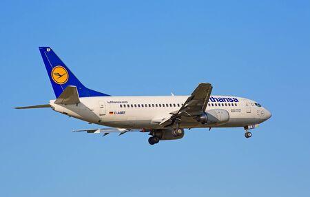haul: ZURICH - JULY 18: Boeing-737, Lufthansa landing in Zurich airport after short haul flight on July 18, 2015 in Zurich, Switzerland. Zurich airport is home port for Swiss Air and one of the biggest european hubs.