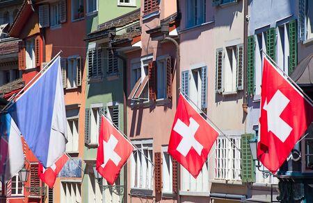 helvetica: Swiss National Day on August 1 in Zurich, Switzerland.