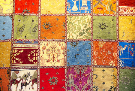 patchwork quilt: Colorful crazy quilt on the arabian market