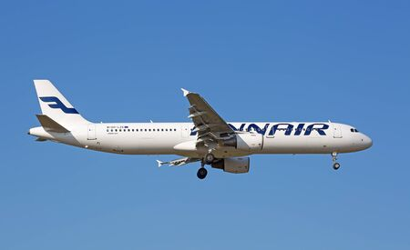 long haul journey: ZURICH - JULY 18: Airbus A-321 Finair landing in Zurich airport after short haul flight on July 18, 2015 in Zurich, Switzerland. Zurich airport is home for Swiss Air and one of the european hubs.