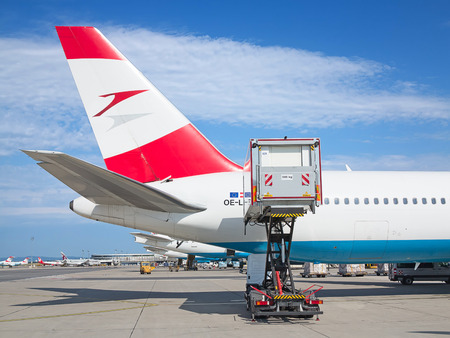 hubs: VIENNA - JULY 8: Austrian Airlines A-319 preparing for take-off in Vienna airport on July 8, 2015 in Vienna, Austria. Vienna airport is home for Austrian Airlines and one of biggest european hubs. Editorial