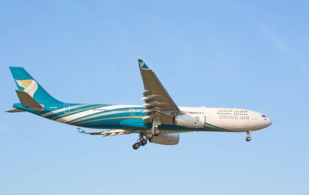 haul: ZURICH - JULY 18: Airbus A-330 Oman Air landing in Zurich after short haul flight on July 18, 2015 in Zurich, Switzerland. Zurich airport is home for Swiss Air and one of biggest european hubs. Editorial