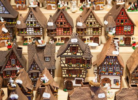 alsatian: Traditional alsatian houses on the Christmas market