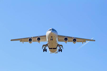long haul journey: Airplane landing in Zurich airport