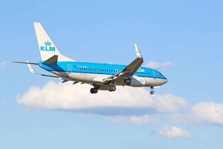 hubs: ZURICH - JULY 18: Boeing-737 KLM landing in Zurich after short haul flight on July 18, 2015 in Zurich, Switzerland. Zurich airport is home for Swiss Air and one of biggest european hubs.