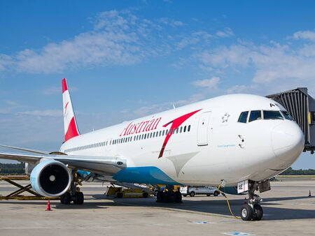 long haul journey: VIENNA - JULY 8: Austrian Airlines A-319 preparing for take-off in Vienna airport on July 8, 2015 in Vienna, Austria. Vienna airport is home for Austrian Airlines and one of biggest european hubs. Editorial