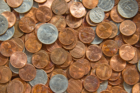 debt collection: Huge pile of the US coins