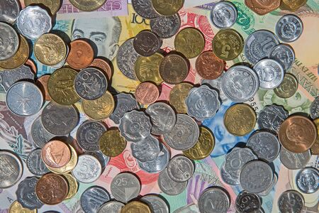 circulated: Collection of the old circulated coins and notes Stock Photo
