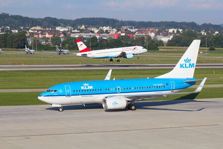 haul: ZURICH - JULY 18: Boeing-737 KLM taxing in Zurich after short haul flight on July 18, 2015 in Zurich, Switzerland. Zurich airport is home for Swiss Air and one of biggest european hubs.