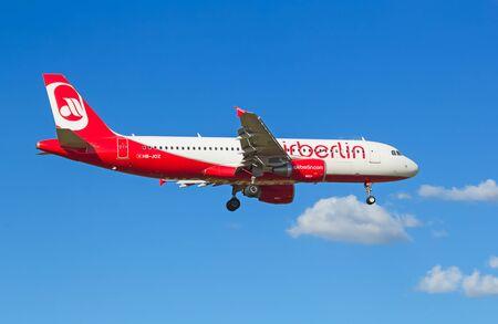 long haul journey: ZURICH - JULY 18: A-318 Air Berlin landing in Zurich airport after short haul flight on July 18, 2015 in Zurich, Switzerland. Air Berlin is one of the leading european discount airlenes.