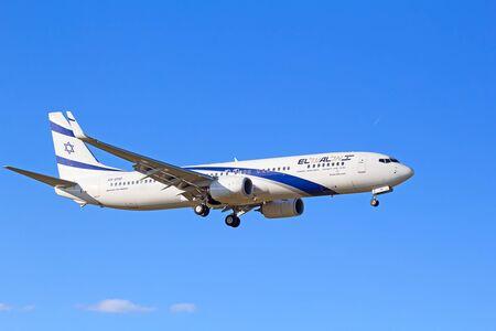 haul: ZURICH - JULY 18: Boeing-737 Israeli El Al landing in Zurich after short haul flight on July 18, 2015 in Zurich, Switzerland. Zurich airport is home for Swiss Air and one of biggest european hubs. Editorial