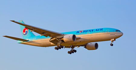 haul: ZURICH - JULY 18: Boeing-777 Korean air landing in Zurich after short haul flight on July 18, 2015 in Zurich, Switzerland. Zurich airport is home for Swiss Air and one of biggest european hubs. Editorial
