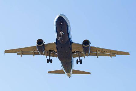 hubs: ZURICH - JULY 18: Airbus A-319 British Airways landing in Zurich after short haul flight on July 18, 2015 in Zurich, Switzerland. Zurich airport is home for Swiss Air and one of biggest european hubs.
