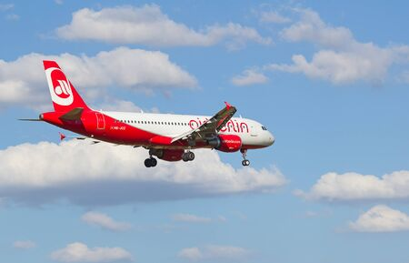 hubs: ZURICH - JULY 18: Airbus A-319 Air Berlin landing in Zurich airport after short haul flight on July 18, 2015 in Zurich, Switzerland. Zurich airport is home port for Swiss Air and one of the biggest european hubs.