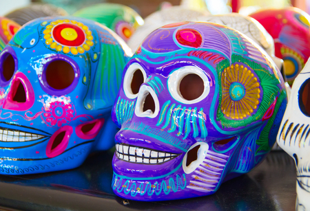 TRADITIONAL PATTERN: Colorful traditional mexican ceramics on the street market Stock Photo