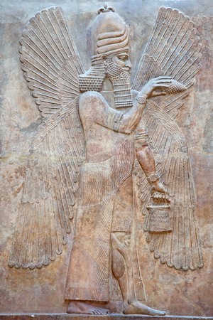 sumerian: Ancient sumerian stone carving with cuneiform scripting Stock Photo