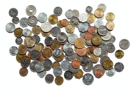 asian coins: Background made of various asian and european coins Stock Photo
