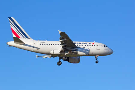 hubs: ZURICH - JULY 18: Air France A-318 landing in Zurich airport after short haul flight on July 18, 2015 in Zurich, Switzerland. Zurich airport is home port for Swiss Air and one of the biggest european hubs.