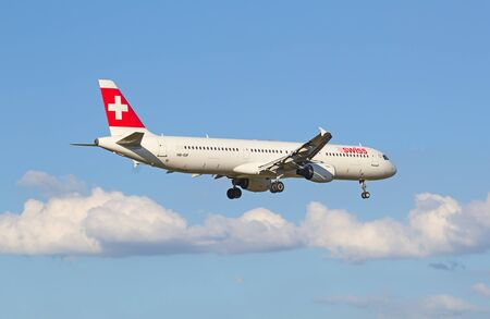 haul: ZURICH - JULY 18: Swiss A-320 landing in Zurich airport after short haul flight on July 18, 2015 in Zurich, Switzerland. Zurich airport is home port for Swiss Air and one of the biggest european hubs. Editorial