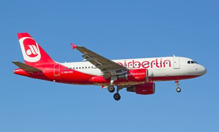 long haul journey: ZURICH - JULY 18: Air Berlin landing in Zurich airport after short haul flight on July 18, 2015 in Zurich, Switzerland. Zurich airport is home port for Swiss Air and one of the biggest european hubs.