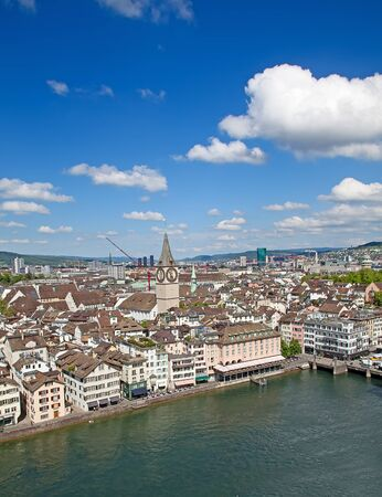 gabled house: View of the Zurich donwtown, Switzerland Stock Photo