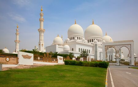 blue mosque: Famous Sheikh Zayed mosque in Abu Dhabi, United Arab Emirates Editorial