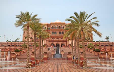 abu dhabi: ABU DHABI, UAE - APRIL 27: Gate to the Emirates Palace hotel on April 27, 2014, UAE. Seven stars Emirates Palace is the second most expensive hotel ever built for about 6 billion USD. Editorial