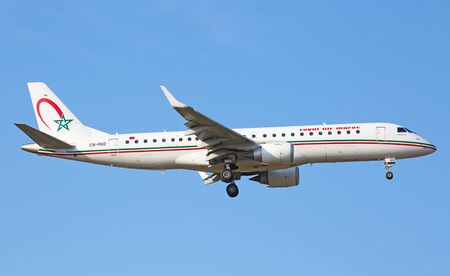 hubs: ZURICH - JULY 18: Embraer 190 Royal Air Maroc landing in Zurich on July 18, 2015 in Zurich, Switzerland. Zurich airport is home for Swiss Air and one of biggest european hubs.