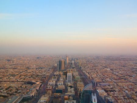Aerial view of Riyadh downtown in Riyadh, Saudi Arabia.