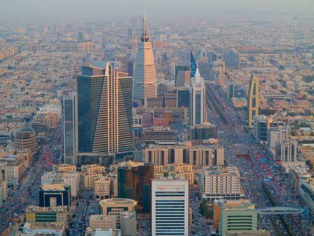 ksa: RIYADH - FEBRUARY 29: Aerial view of Riyadh downtown on February 29, 2016 in Riyadh, Saudi Arabia. Editorial