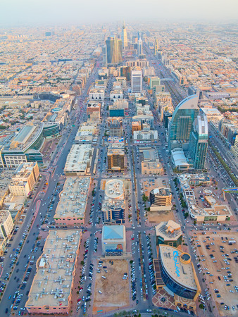february: RIYADH - FEBRUARY 29: Aerial view of Riyadh downtown on February 29, 2016 in Riyadh, Saudi Arabia. Editorial