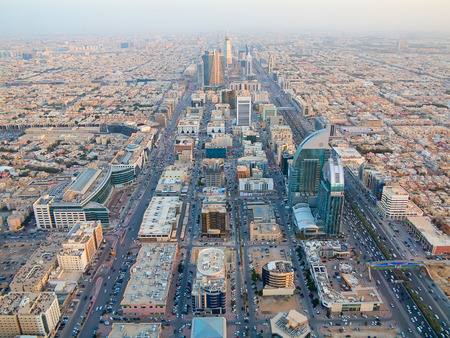 arabia: Aerial view of Riyadh downtown in Riyadh, Saudi Arabia.