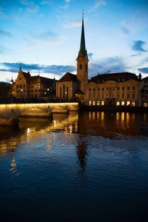 grossmunster cathedral: Famous St. Peter cathedral in Zurich, Switzerland